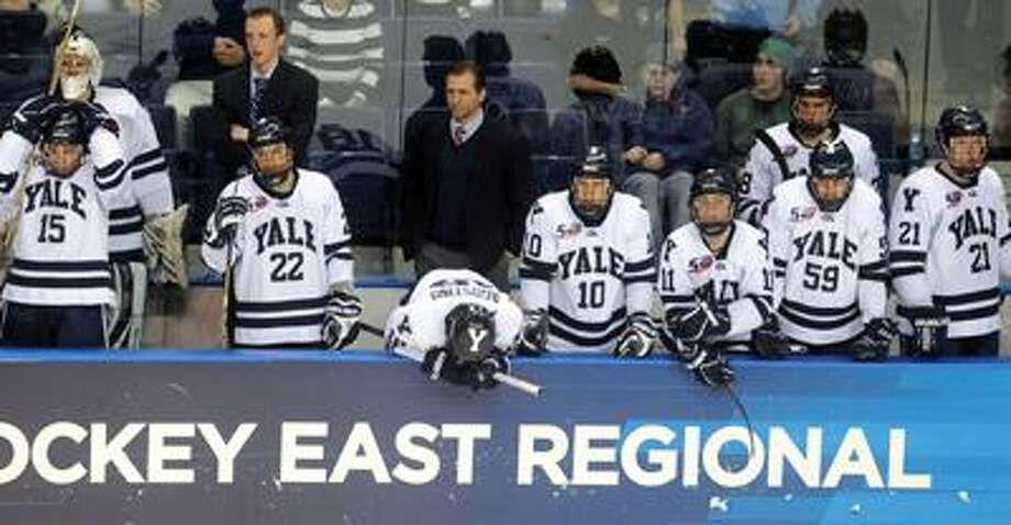 NCAA East Regional Final, Div. 1 Hockey between Yale and Univ. of MN-Duluth, 3rd period. Yale reacts at the end of the game to their 5-3 loss. Photo by Mara Lavitt/New Haven Register3/26/11