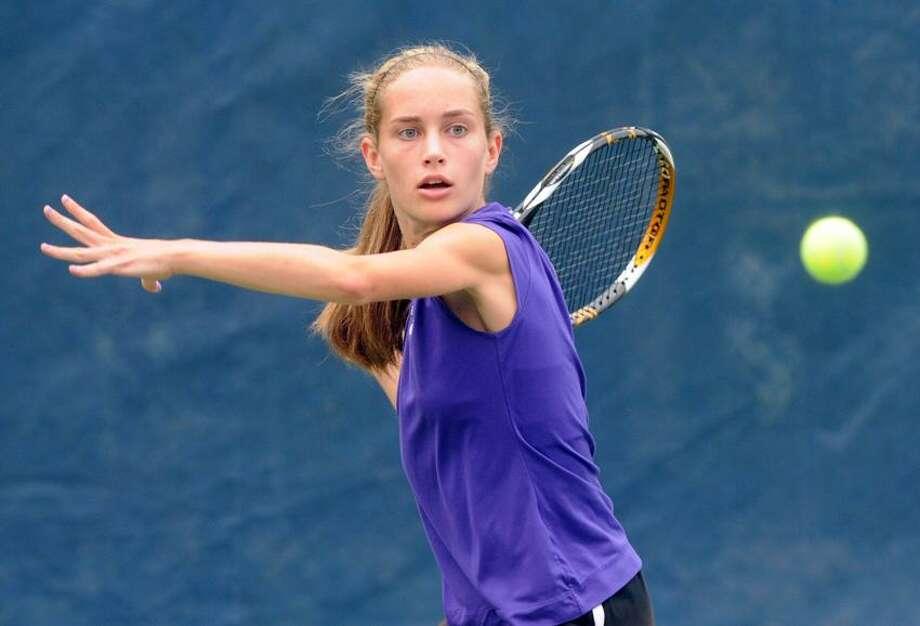 Class S girls tennis finals: Caroline Barton of Westbrook won her match in straight sets to help Westbrook beat Stonington.  Mara Lavitt/New Haven Register