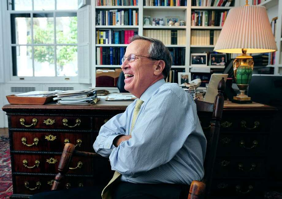 Yale University President Richard C. Levin is photographed in his office in Woodbridge Hall at Yale University in New Haven on 8/30/2012.  Levin announced he is stepping down at the end of the academic year.Photo by Arnold Gold/New Haven Register   AG0461A