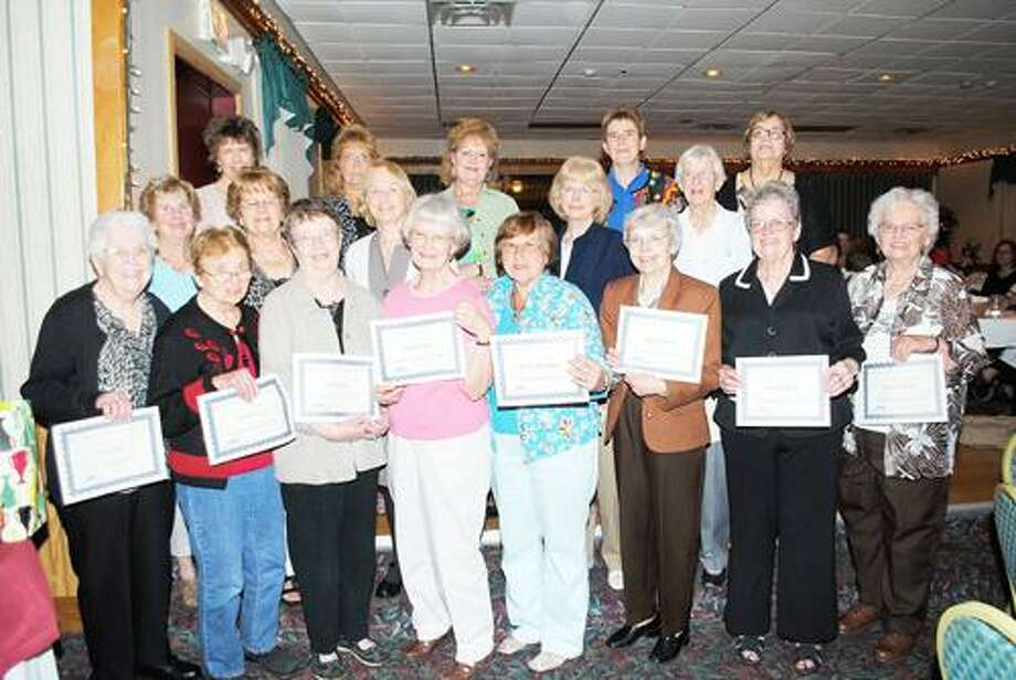 Photo Courtesy RSVP'S BONE BUILDERS First row from left: Ruby Ball, Janet Formey, Judy Hayes, Claudia Jensen, Sherry Menninger, Phyllis Petersen, Bev Thorpe, Fran Selover. Second row from left:, Mary Murray, Betty Enders, Nancy Landers, Pat Harrig, Lois Parsons. Third row from left: Christine Crandall, Linda McDonald, Josie Howlett, Wynn Shaul, Jane Trimmingham.