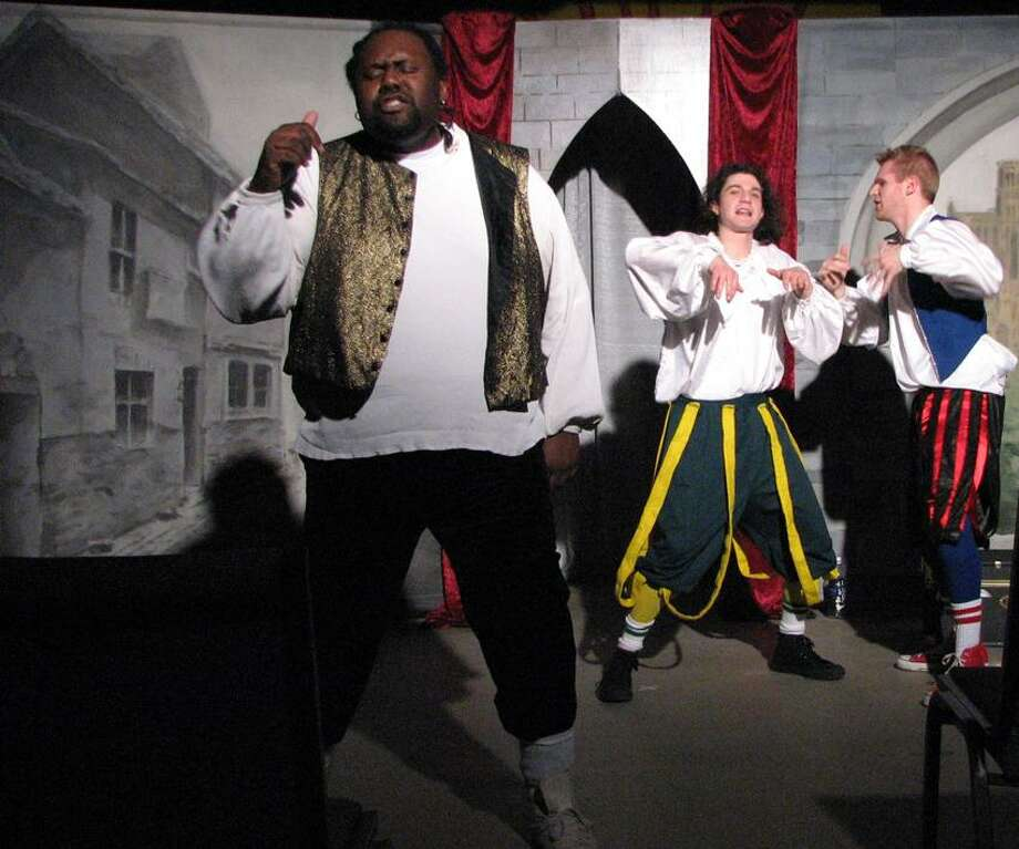 """Shakesperience Productions: A scene from """"The Complete Works of Shakespeare (Abridged)."""""""