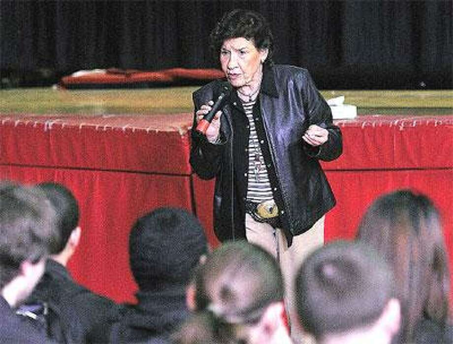 Holocaust survivor Anita Schorr speaks at Platt Technical High School about her experiences surviving the Nazis as an 8-year-old. (Peter Casolino/Register photo)