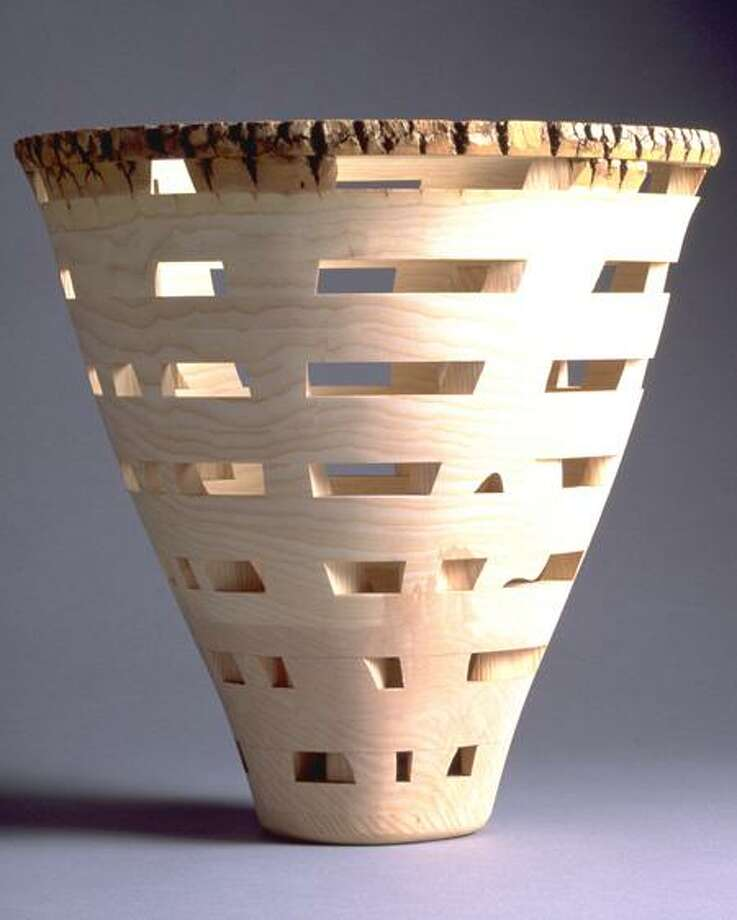 A laminated wood vessel by Oxford artist Peter Petrochko.