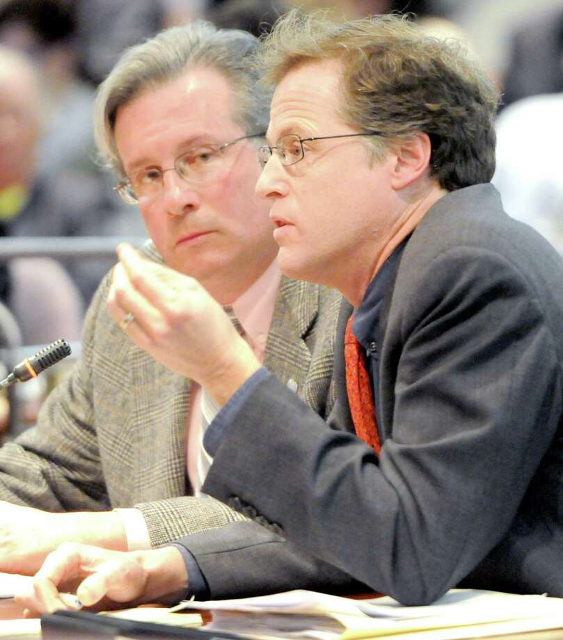 Jeffrey Meyer, a former federal prosecutor and Quinnipiac University Law Professor, right, testifies with Dr. William Petit Jr.,left,  during  the Judiciary Committee hearing March 7 on the repeal of the death penalty at the State Capitol Legislative Office Building. Photo by Peter Hvizdak March 7, 2011       ph2268            #6142    Connecticut