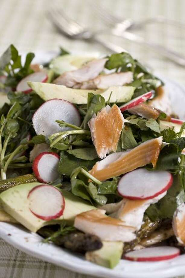 Larry Crowe/Associated Press photo: Marinated Spring Vegetables and Smoked Trout Salad Photo: AP / FR41490 AP