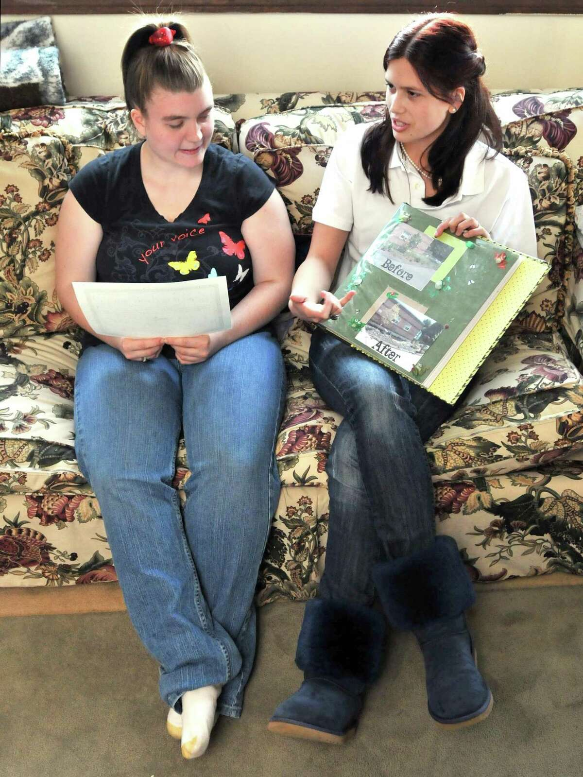 West Haven--Jennifer Bourque and Lauren Fernandez collaborated on the project for their Gold Awards, the Girl Scouts' highest honor. Photo by Brad Horrigan/New Haven Register