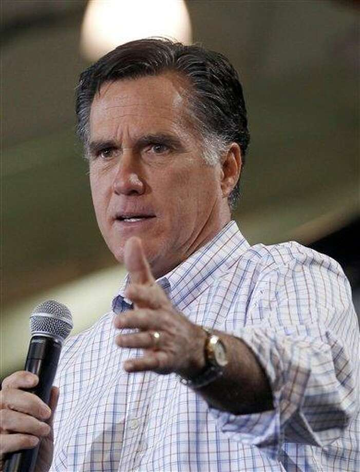 Republican presidential candidate, former Massachusetts Gov. Mitt Romney speaks at a campaign rally in Loveland, Colo., Tuesday, Feb. 7, 2012. (AP Photo/Gerald Herbert) Photo: AP / AP