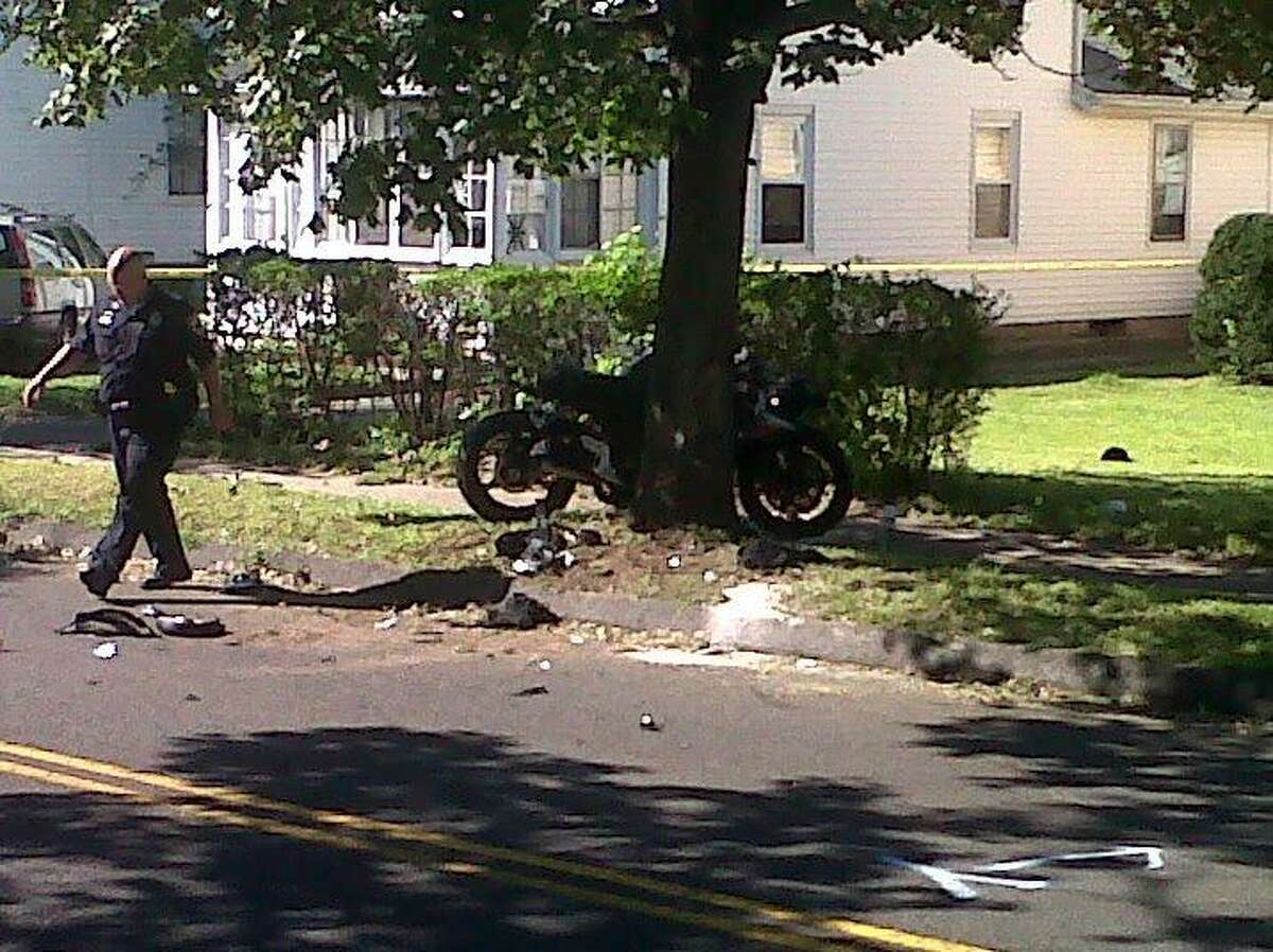 A man was very seriously injured this morning when he lost control of his motorcycle and it hit a telephone pole in West Haven, police said. Photo by William Kaempffer