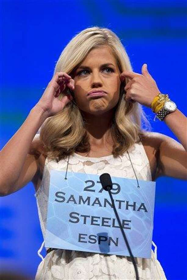 FILE - This May 30, 2012 file photo shows ESPN personality Samantha Steele reacting during the National Spelling Bee in Oxon Hill, Md. Minnesota Vikings quarterback Christian Ponder and Steele have tied the knot. Ponder confirmed on Wednesday, Dec. 19, 2012, that the two were married at a courthouse in Wisconsin on Monday.  (AP Photo/Evan Vucci, File) Photo: ASSOCIATED PRESS / A2012