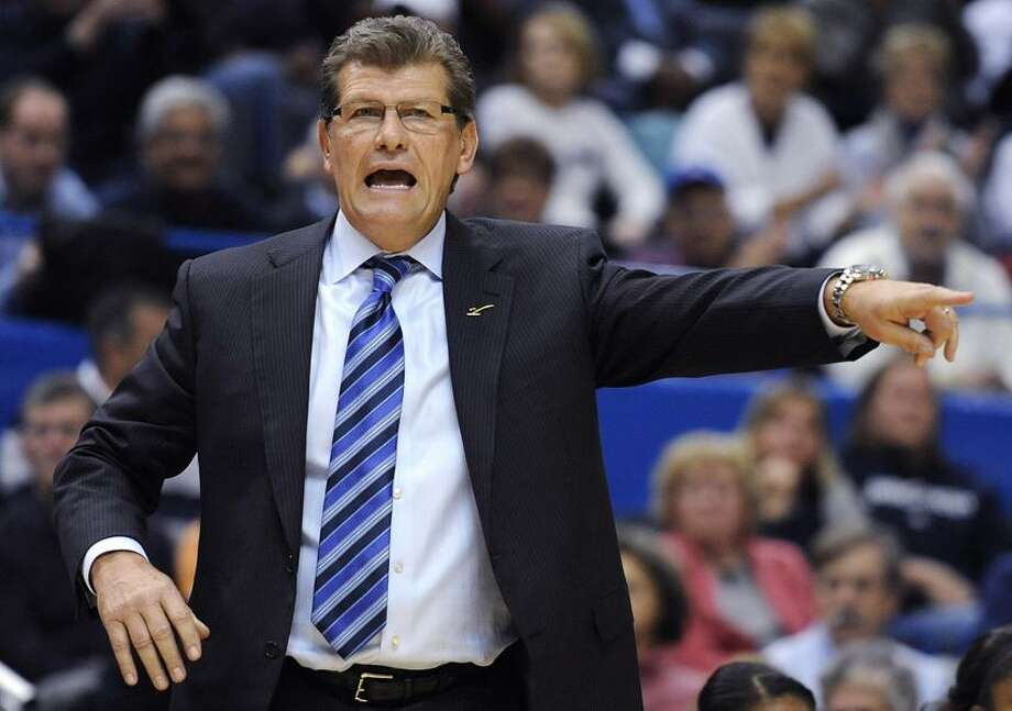 Connecticut coach Geno Auriemma gestures during the second half of an NCAA college basketball game against Maryland in Hartford, Conn., Monday, Dec. 3, 2012. Connecticut won 63-48. (AP Photo/Jessica Hill) Photo: AP / A2012