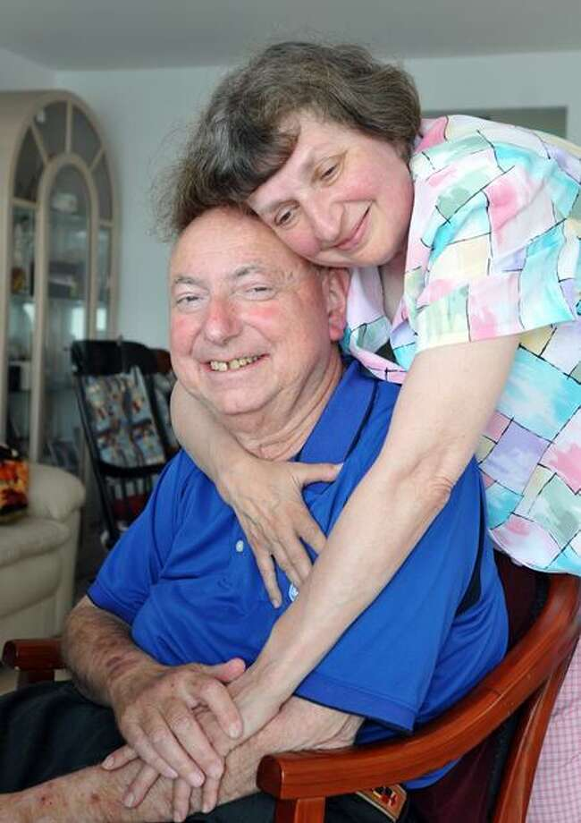 "Mel Goldstein -- News 8's ""Dr. Mel"" -- with the love of his life, Arlene, at their East Haven home. Peter Casolino/Register"