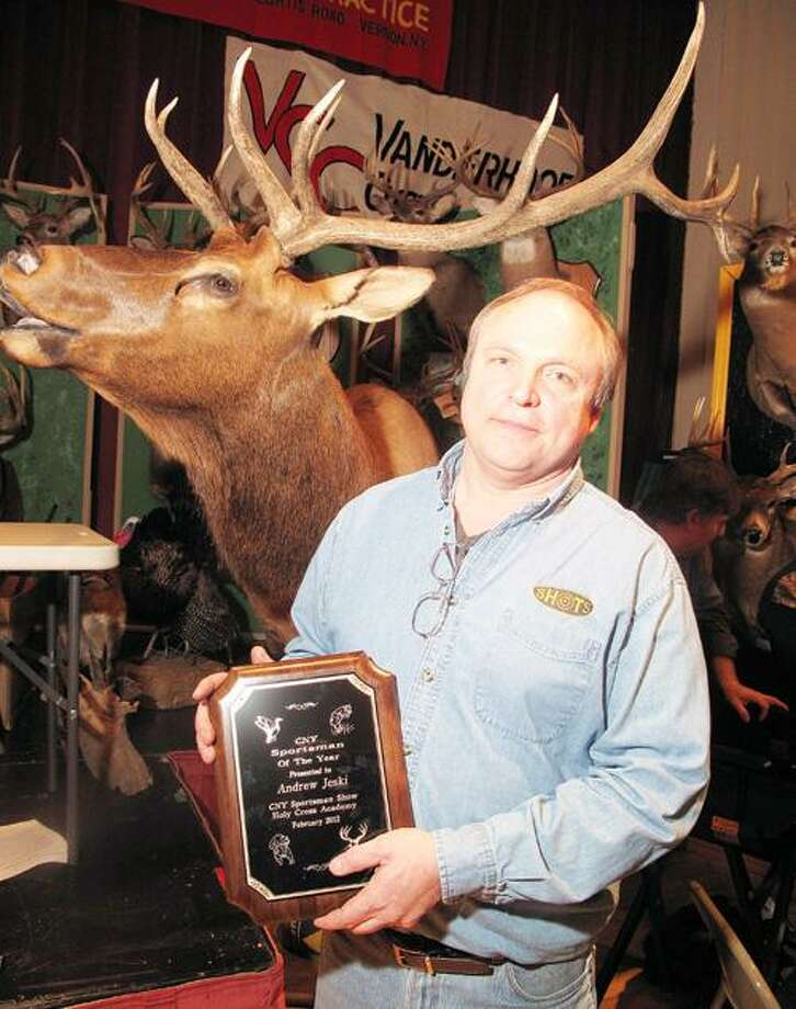 Photo by JOHN HAEGER (Twitter.com/OneidaPhoto) Andrew Jeski, of Oneida, named Sportsman of the Year   at the CNY Sportsmen Show held at the Kallet Civic Center in the City of Oneida on Saturday, Feb. 4, 2012.