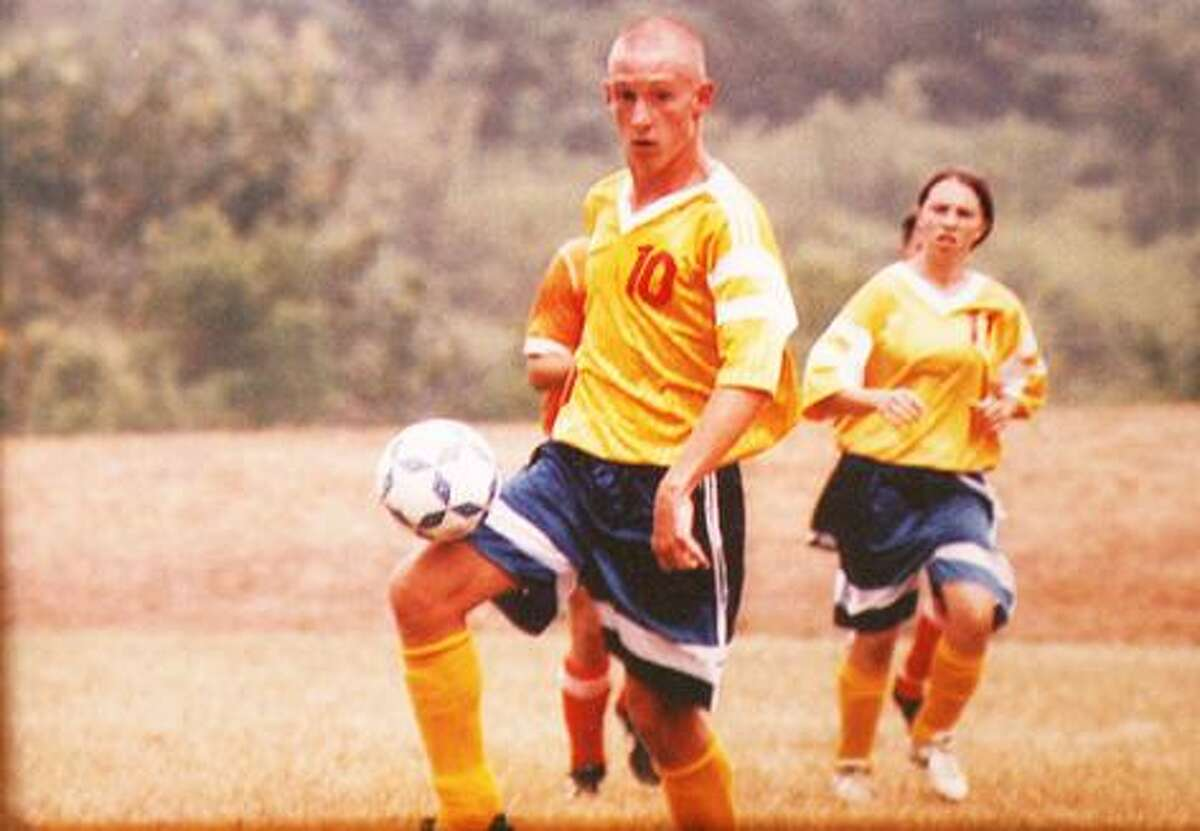 In this photo, 17-year-old Marc Kissinger plays soccer. Marc died from injuries sustained in a car accident and his organs were donated to help save Mike Janowski's life.
