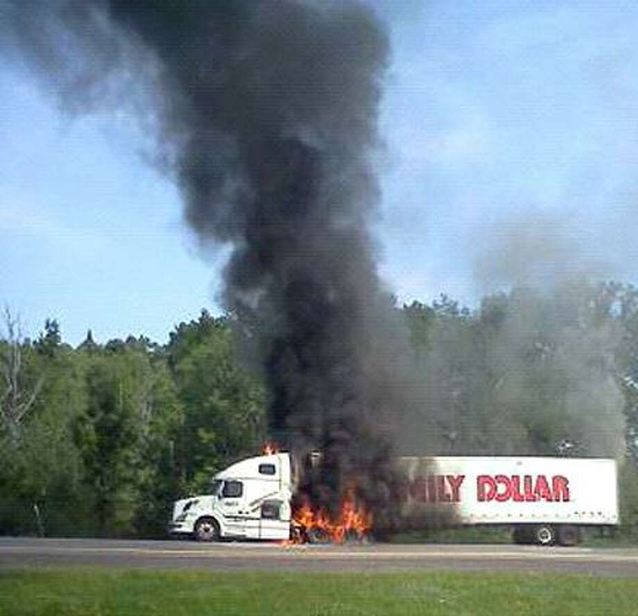 The tractor-trailer burns today on the Thruway. Photo courtesy Jerry Sevey, a Sherrill Volunteer Firefighter