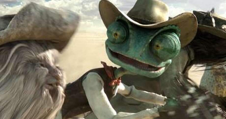 "Associated Press photo: Johnny Depp plays the leading lizard in ""Rango."" Photo: AP / Paramount Pictures"