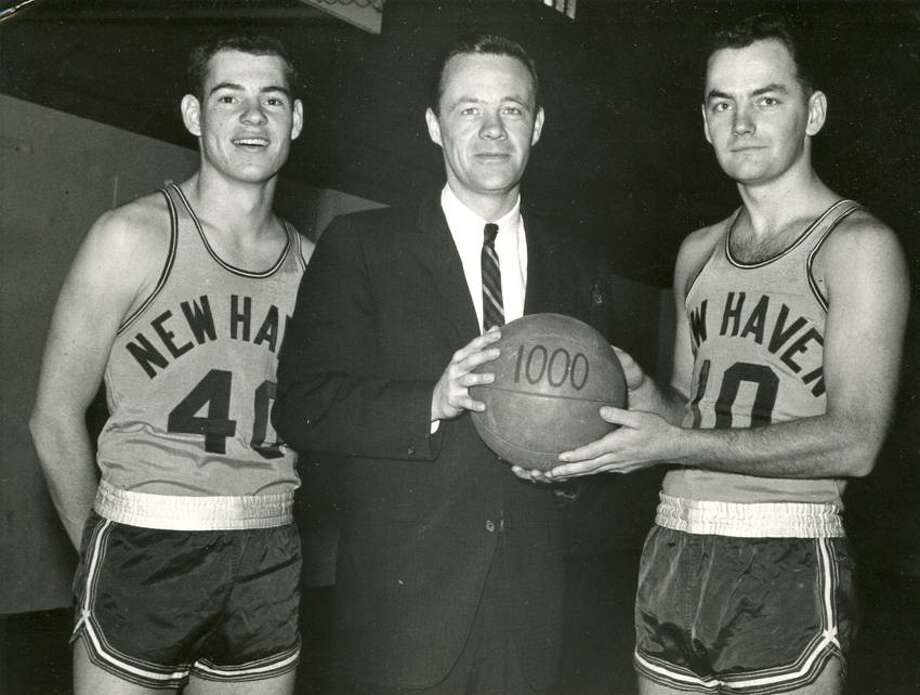 Gary Liberatore, left, with Don Ormrod (coach and former AD) and Dick Jackson. (Photo courtesy of University of New Haven)