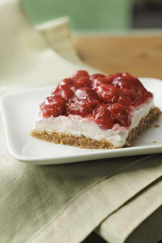 Ken Burris/EatingWell photo: No-Bake Cherry Cheesecake Bars Photo: Ken Burris/EatingWell