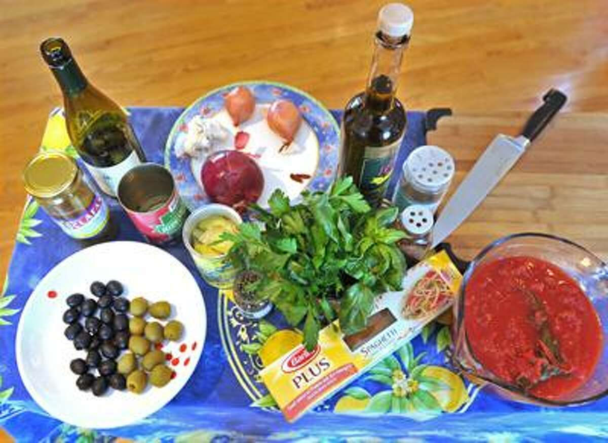 Claire Criscuolo's ingredients for pasta puttanesca.