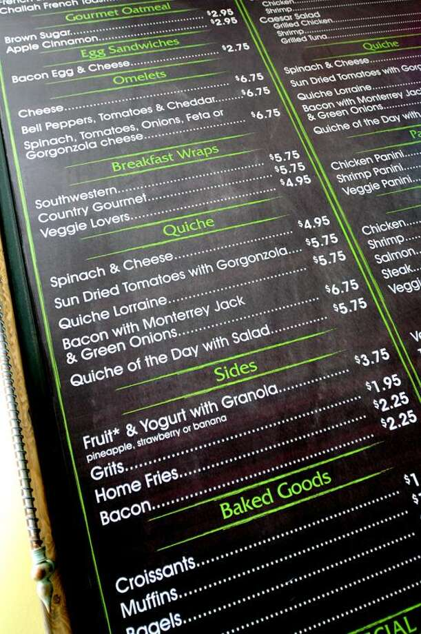 The menu board of The Gourmet Cafe on Elizabeth Street in Derby. Photo by Arnold Gold/New Haven Register
