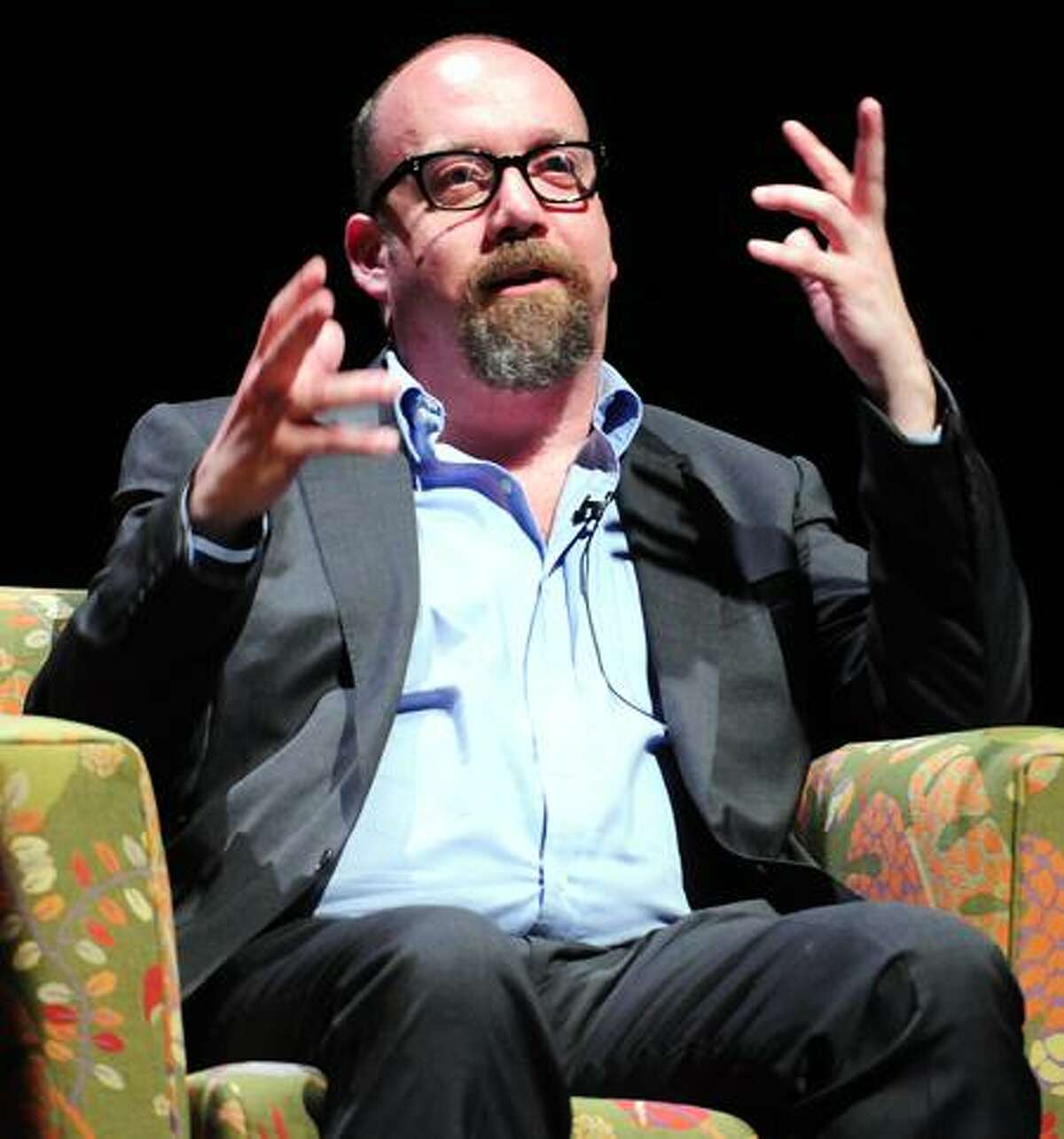 Arnold Gold/Register Actor Paul Giamatti answers questions on stage at Yale's University Theatre in New Haven earlier this week.