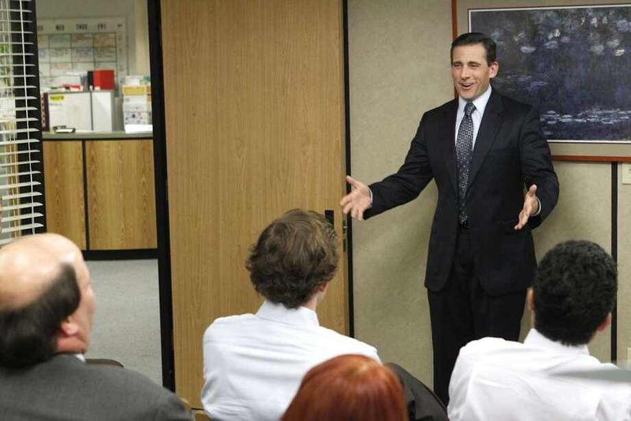 "Chris Haston/NBC Steve Carell leaves ""The Office"" for the last time at 9 p.m. Thursday on NBC. / ? NBCUniversal, Inc."
