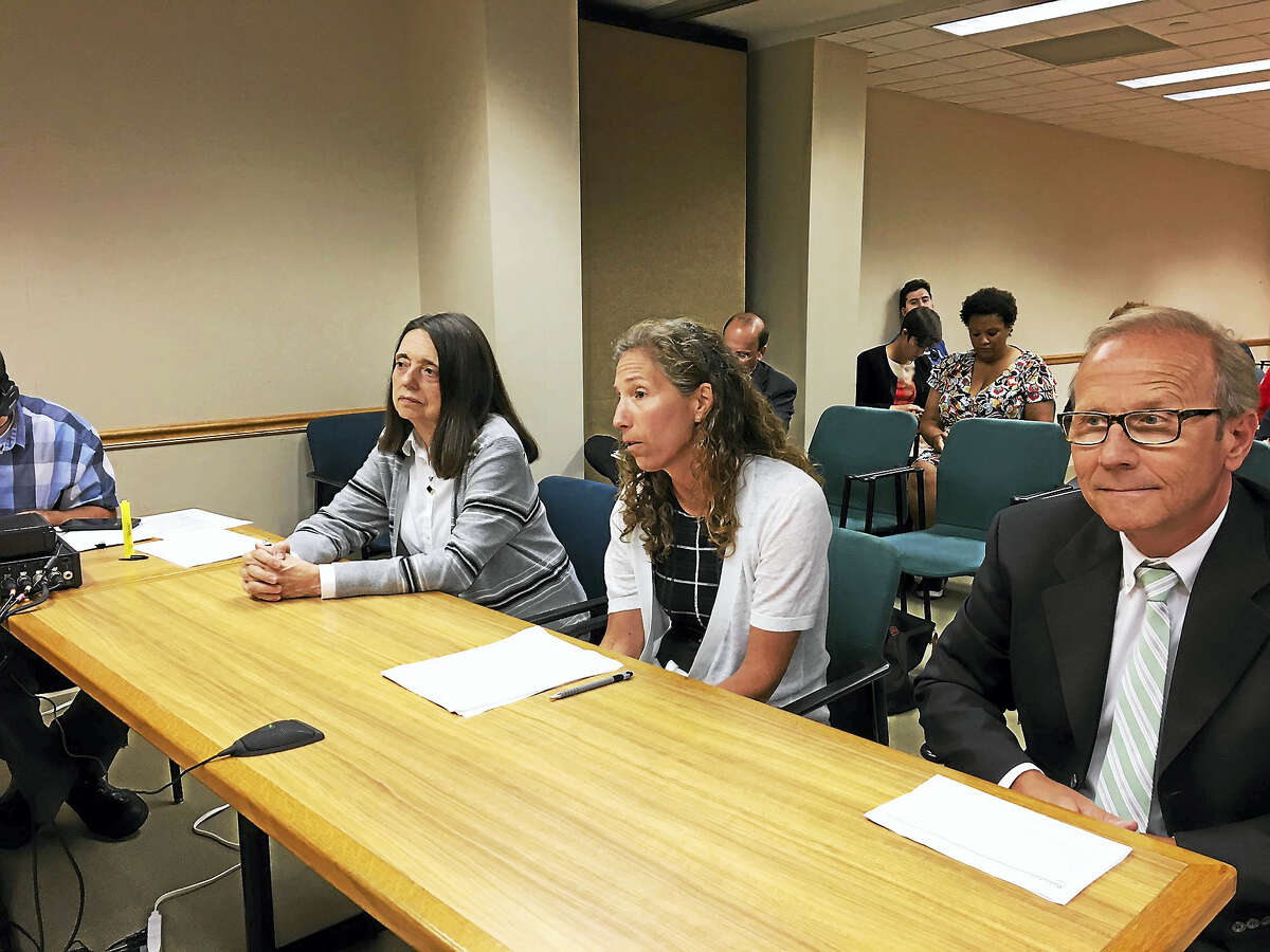 From left, Dr. Linda Mayes, director of the Yale Child Study Center; Lauren Zucker of Yale Properties; and Bruce McCann, director of planning for the Yale Medical School, appear before the City Plan Commission Wednesday.