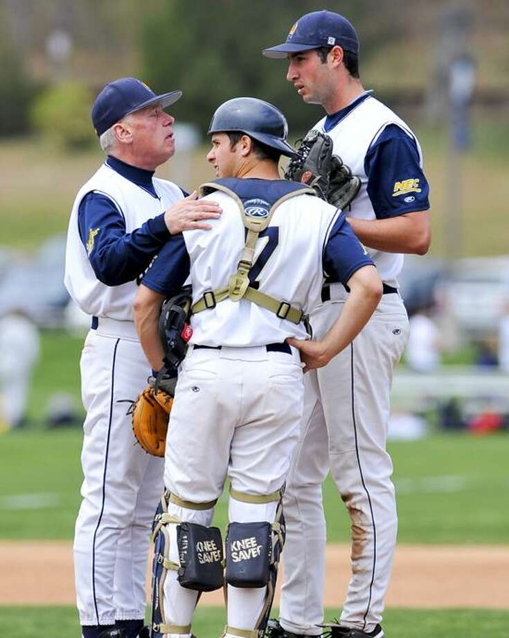 Photo courtesy of Quinnipiac Athletics Quinnipiac coach Dan Gooley, left, remains one victory shy of 500 career wins. / John Hassett