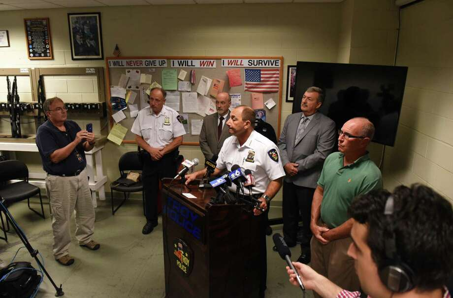 Troy Police Chief John Tedesco holds a press briefing to provided updates on Wednesday, Aug. 16, 2017, at the Troy Police Station in Troy, N.Y., on the Tuesday night incident where a man was shot by a city officer. Dahmeek McDonald, 22, was stopped by officers because he was wanted for a parole violation. (Will Waldron/Times Union) Photo: Will Waldron / 20041304A