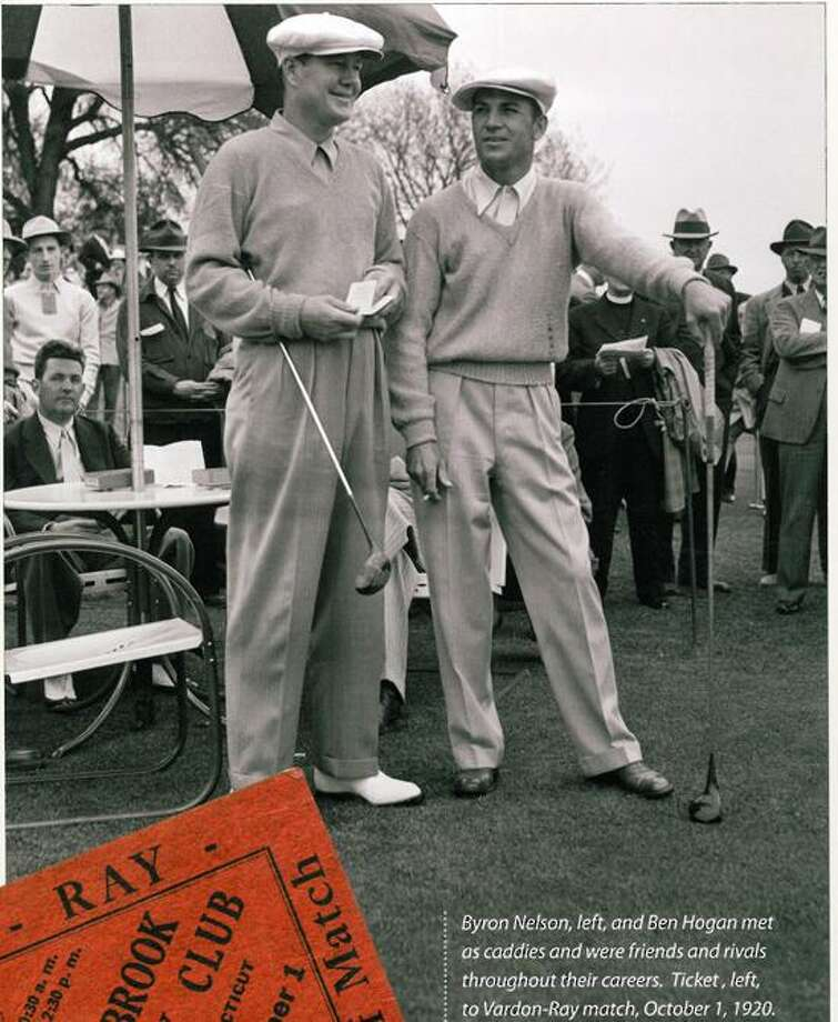 Photo courtsey of Corbis/Bettman Images Byron Nelson, left, and Ben Hogan during an exhibition match at Race Brook CC in 1942.