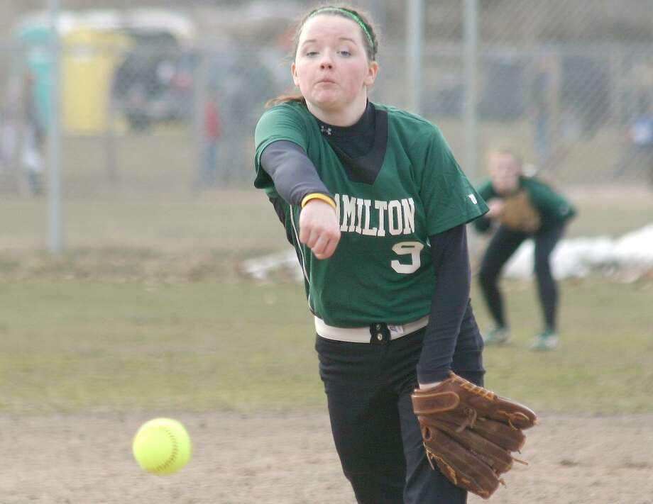 Submitted File Photo by Jon Rathbun Hamilton's Rebecca Rogers pitches in Herkimer on March 30. She recorded her second career no-hitter against Old Forge on Monday, April 25, 2011.