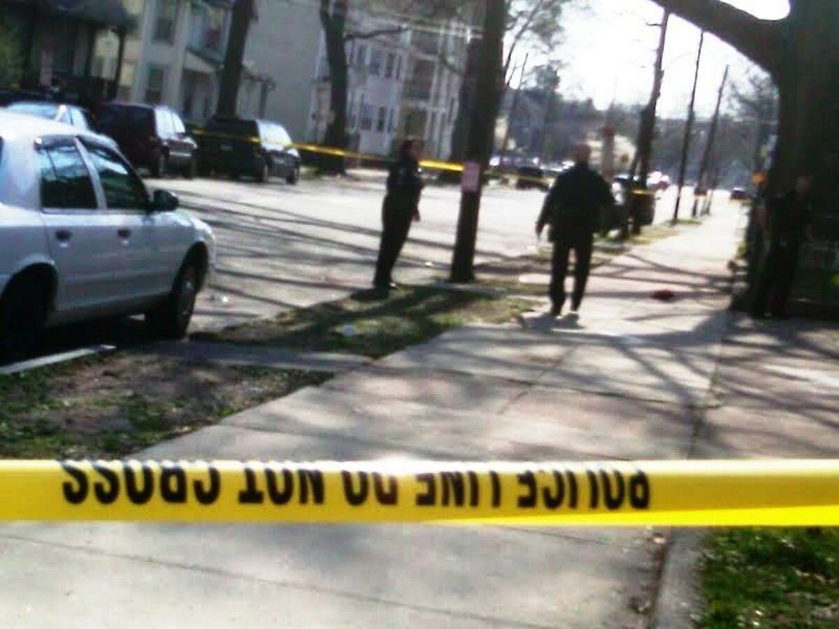 The scene of a double shooting in New Haven Monday Photo by William Kaempffer