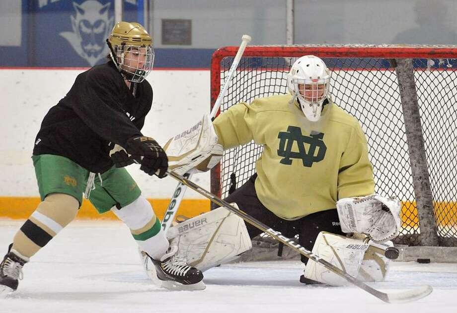 West Haven-- Notre Dame of West Haven Goalie Lou Amatruda at practice.  Photo-Peter Casolino 12/06/2012