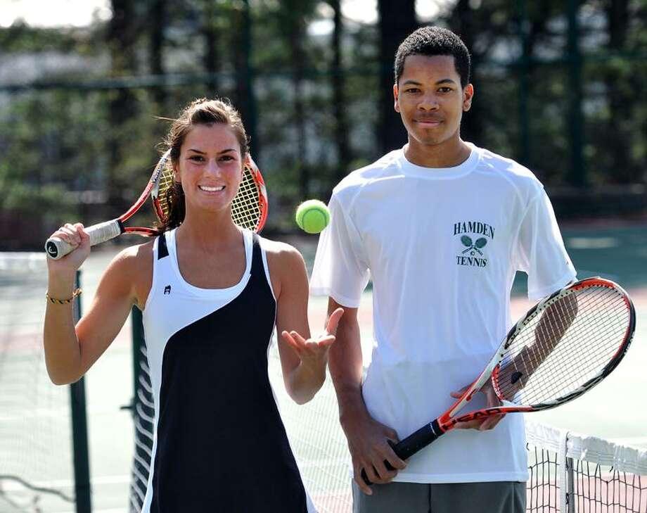 Hamden-- Hamden's No. 1 tennis standouts, Sarah Baker and Teal Howard. Photo by Peter Casolino/New Haven Register04/21/11 Cas110421