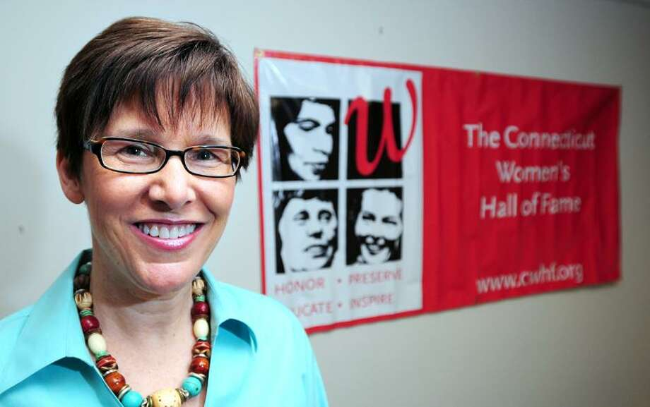 Anne Stanback is photographed at the Connecticut Women's Hall of Fame in Schwartz Hall at Southern Connecticut State University in New Haven. Arnold Gold/Register