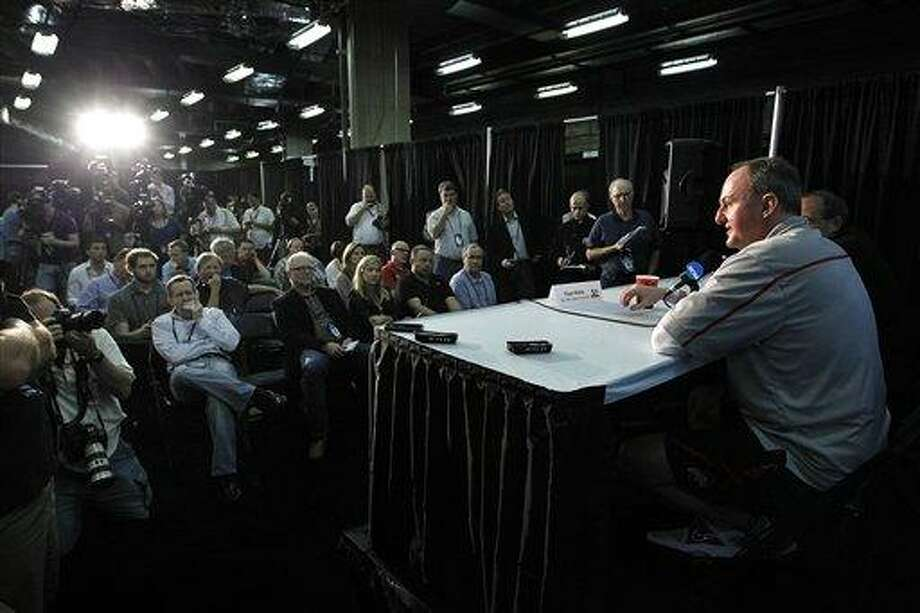 Ohio State head coach Thad Matta talks to reporters during a news conference in New Orleans, Thursday, March 29, 2012. Ohio State is scheduled to play Kansas in an NCAA tournament Final Four semifinal college basketball game on Saturday. (AP Photo/Gerald Herbert) Photo: AP / AP