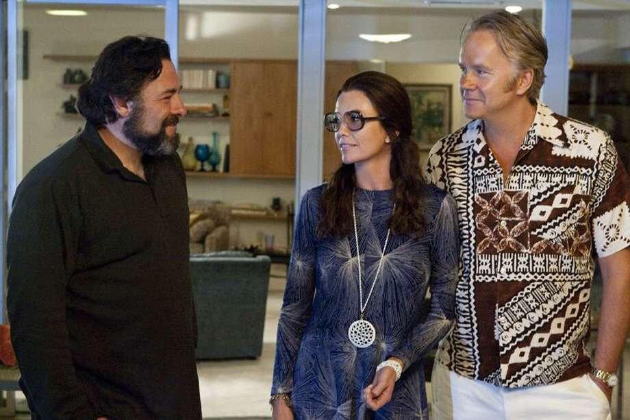 "HBO photo: James Gandolfini, left, with Diane Lane and Tim Robbins in ""Cinema Verite"" on HBO."