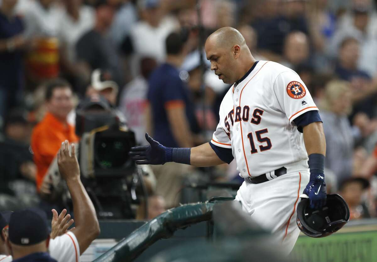 Houston Astros designated hitter Carlos Beltran (15) celebrates in the dugout after his solo home run during the second inning of an MLB game at Minute Maid Park, Wednesday, Aug. 16, 2017, in Houston. ( Karen Warren / Houston Chronicle )