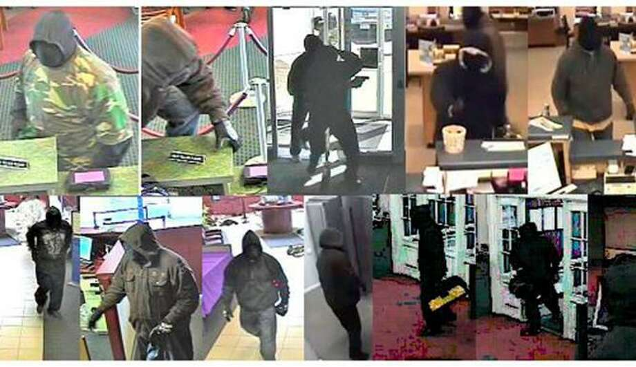 Photos provided by the FBI of the suspects during the various robberies.