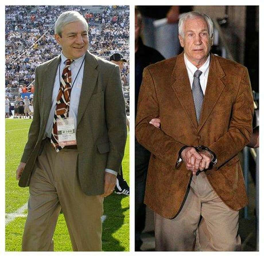 "In this photo combo, at left, in an Oct. 8, 2011 file photo, Penn State president Graham Spanier walks on the field before an NCAA college football game in State College, Pa. At right, former Penn State University assistant football coach Jerry Sandusky leaves the Centre County Courthouse in custody after being found guilty of multiple charges of child sexual abuse in Bellefonte, Pa., Friday, June 22, 2012. CNN says it has seen emails showing Spanier agreed not to take allegations of sex abuse against Sandusky to authorities but worried they'd be ""vulnerable"" for failing to report it. CNN says the emails followed a graduate assistant's 2001 report of seeing Sandusky sexually assaulting a boy in a shower. (AP Photo/Gene J. Puskar, File) Photo: ASSOCIATED PRESS / AP2012"