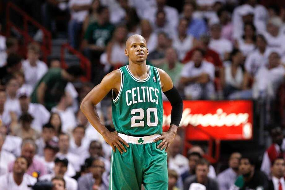 Boston Celtics' Ray Allen (20) during the second half of Game 5 in their NBA basketball Eastern Conference finals playoffs series against the Miami Heat, Tuesday, June 5, 2012, in Miami. (AP Photo/Lynne Sladky) Photo: AP / AP