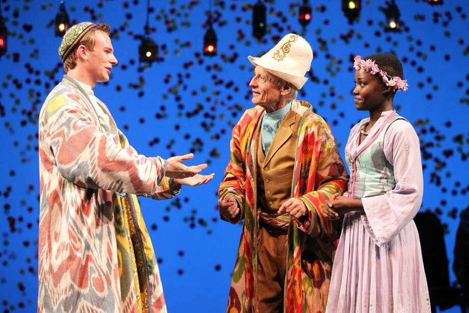 "Joan Marcus photo: Tim Brown, Thomas Kopache and Lupita Nyong'o in Yale Repertory Theatre's ""The Winter's Tale,"" through April 7 at University Theatre."