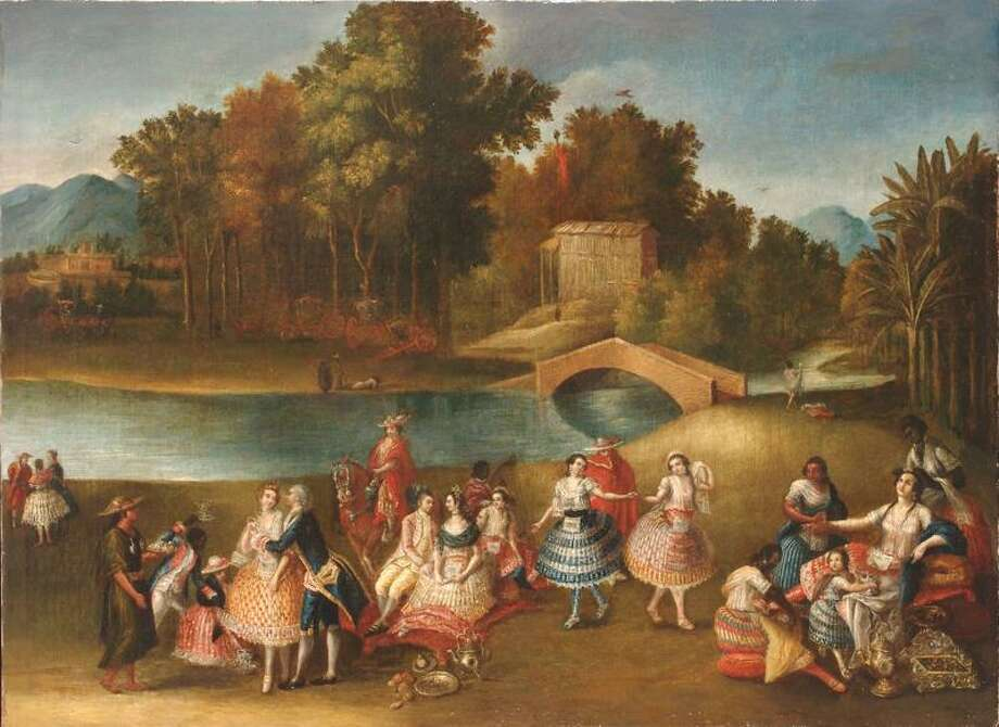 This undated photo provided by the Brooklyn Museum shows the 18th century painting, ÒA Merry Company Along the Banks of the Rimac River,Ó a rare secular painting from colonial Peru acquired by the Brooklyn Museum. It shows a multi-racial group of people enjoying the grounds of a country estate. The work will be a highlight of show at the museum next year. (AP Photo/Brooklyn Museum) Photo: AP / AP2008