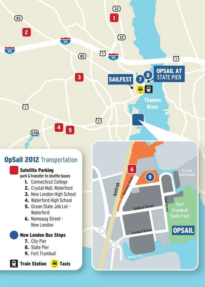 Your treasure map for parking at OpSail 2012CT.
