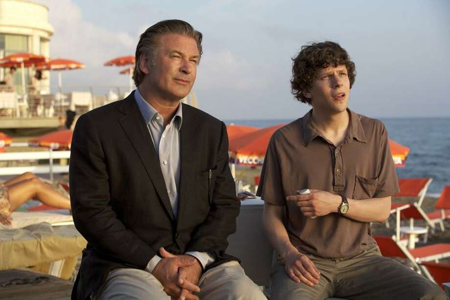 """Sony Pictures Classics photo: Alec Baldwin, left, offers Jesse Eisenberg relationship advice in """"To Rome With Love."""" Now that's acting. Photo: AP / Copyright 2012 The Associated Press. All rights reserved. This material may not be published, broadcast, rewritten or redistribu"""