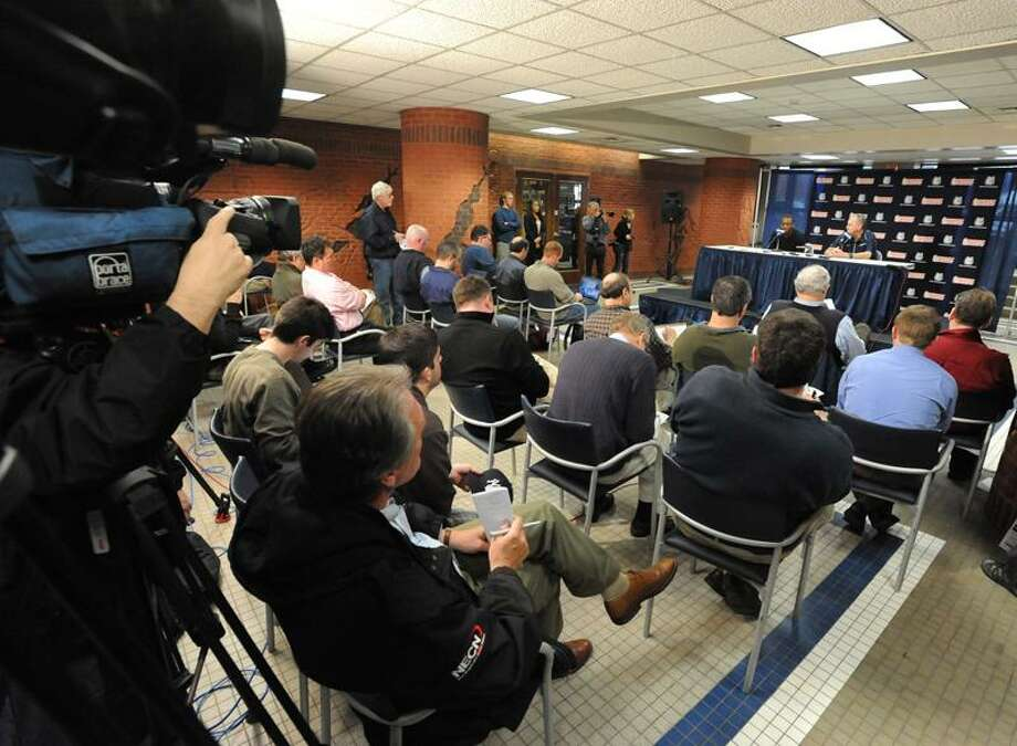 Storrs--At a press conference at Gampel Pavilion Tuesday, Kemba Walker announces he will enter the NBA draft.  Photo by Brad Horrigan/New Haven Register-04.12.11.