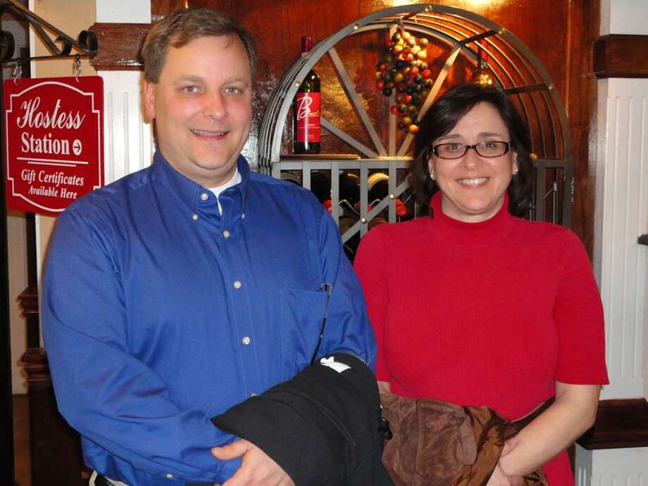 Contributed photo: David Oravetz of Middletown and Kim Bakowski met for lunch at Brazi's in New Haven.