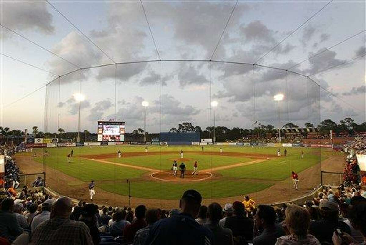 A general view of Digital Domain Stadium during a spring training baseball game between the Washington Nationals and the New York Mets in Port St. Lucie, Fla., Tuesday, March 20, 2012. (AP Photo/Patrick Semansky)