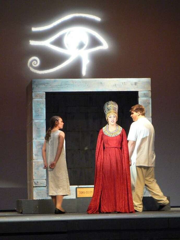 """""""Aida,"""" a timeless love story by Elton John and Tim Rice, comes to life at Branford High School with seniors (from left) Katrice Kemble as Aida, Alison Johnson as Amneris and Noah Perito as Radames. (Courtesy of Branford High School Performing Arts)"""