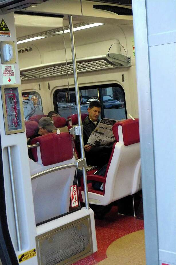 This file photo shows a passenger on a train