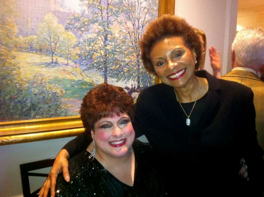 "Ann DeMatteo/Register photo: Leslie Uggams, right, who performed at the Persian Room back in the day, greets singer Cathryn Kenzel, Branford resident and BFF of this columnist, at the release party for ""The Persian Room Presents."""